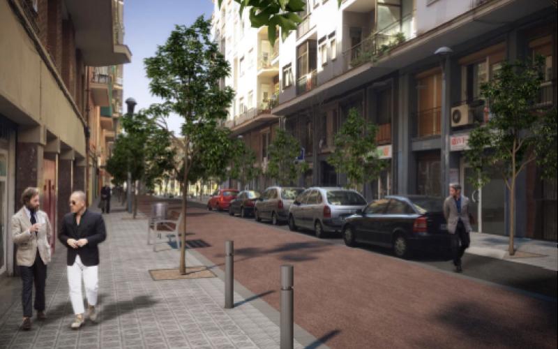 Reurbanització del carrer del Regent Mendieta, entre la riera Blanca i el carrer del Comte Güell.