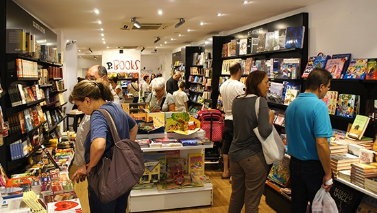 customers shopping in a bookshop